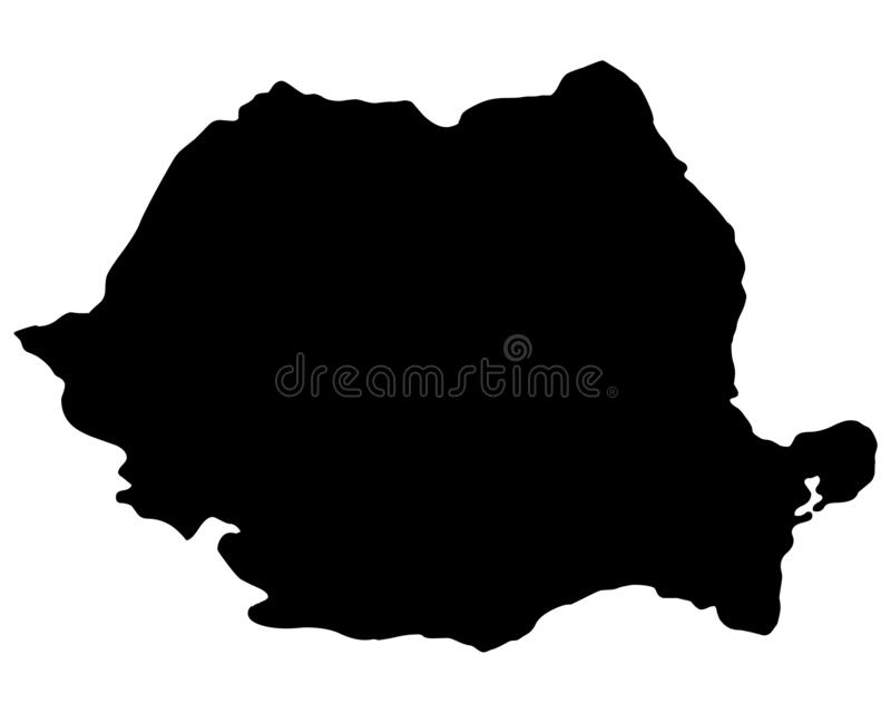 Romania map silhouette vector illustration. Isolated on white background stock illustration