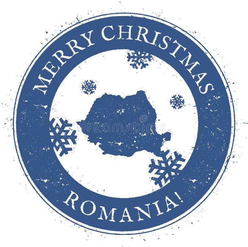 Romania map. Vintage Merry Christmas Romania. royalty free illustration
