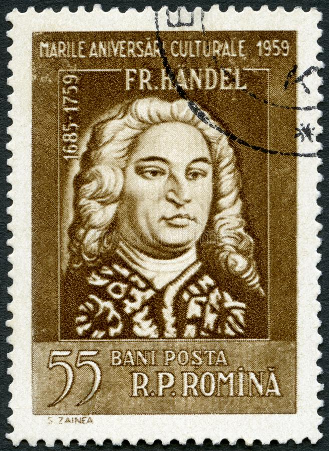 ROMANIA - 1959: Mostra la serie di ritratti di George Frideric Handel 1685-1759 fotografia stock libera da diritti