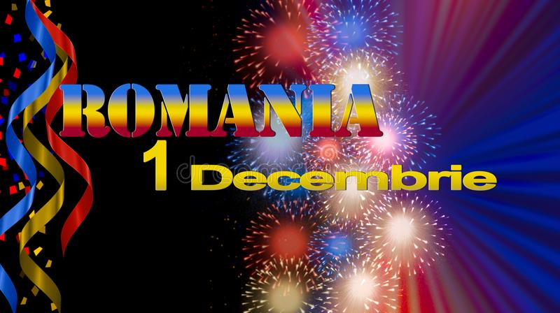 Romania National Day banner, illustration with flag colors, fireworks on black background royalty free illustration