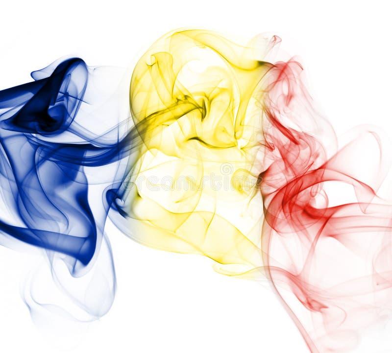 Romania national smoke flag stock photography