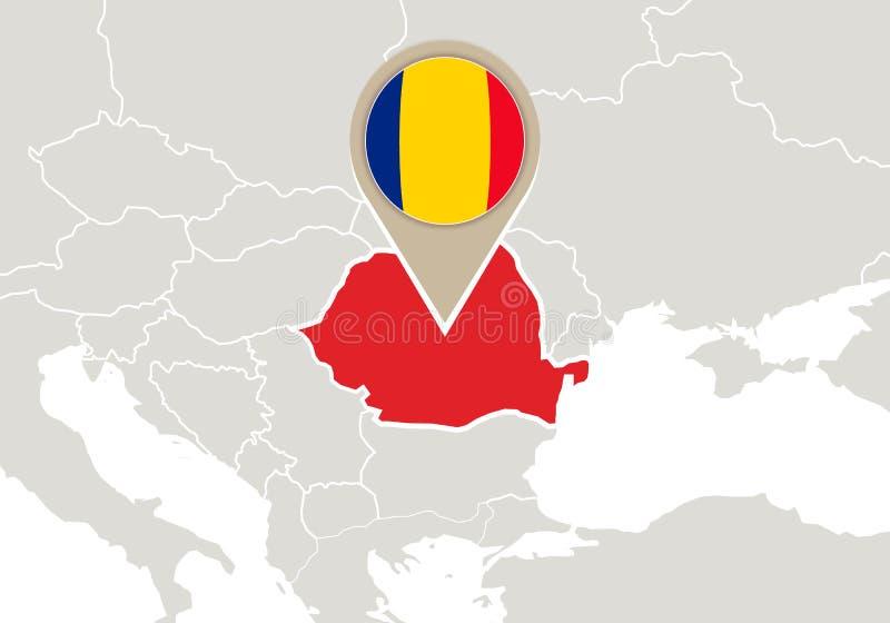 Romania no mapa de Europa ilustração do vetor