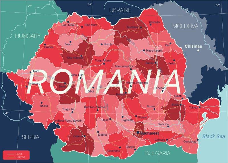 Cartina Dettagliata Romania.Mappa Delle Ferrovie Della Romania Illustrazione Di Stock Illustrazione Di Grafico Regione 71562374