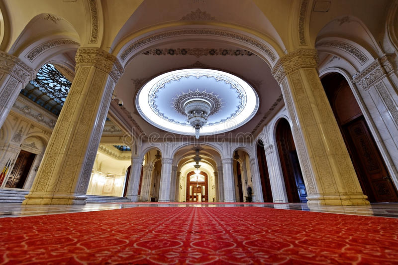 Romania Palace of Parliament. BUCHAREST, ROMANIA - OCTOBER 22: Interior shot with the Palace of Parliament on October 22, 2015 in Bucharest. The People's Palace stock photo