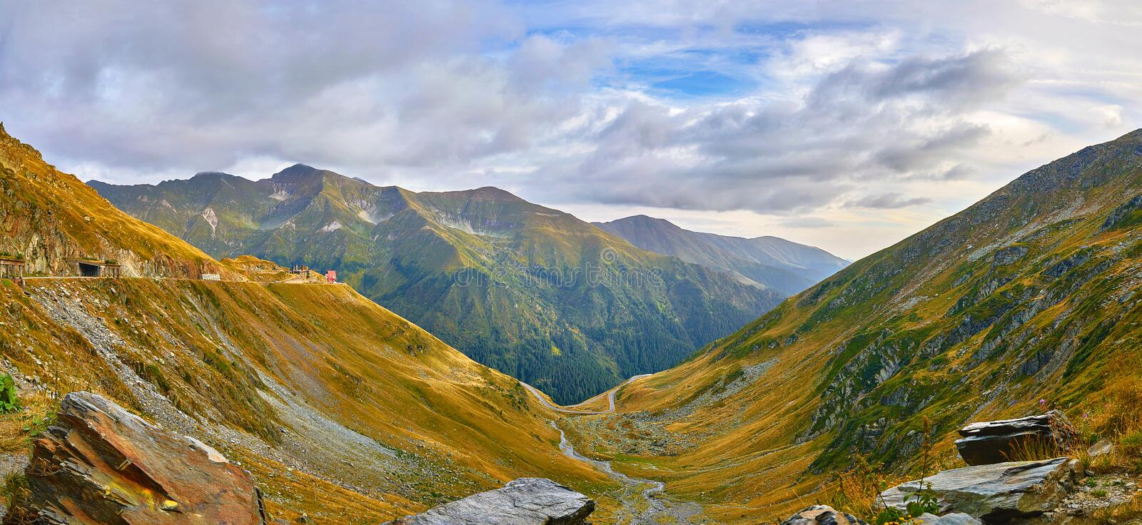 Romania. Panoramic mountain road Transfagarasan highway royalty free stock photos