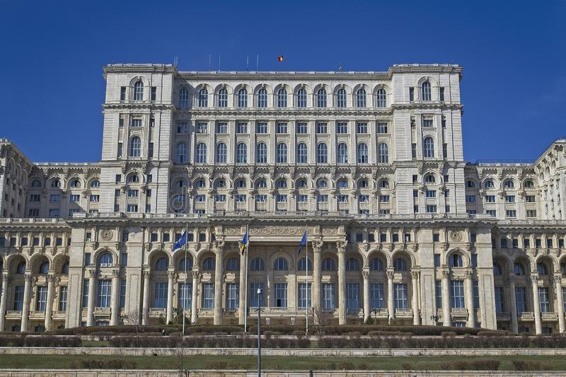 Romania Parliament Building. BUCHAREST, ROMANIA - MARCH 7, 2017: Palace of the Parliament which was started under Communist leader, Nicolae Ceausescu and is one royalty free stock image