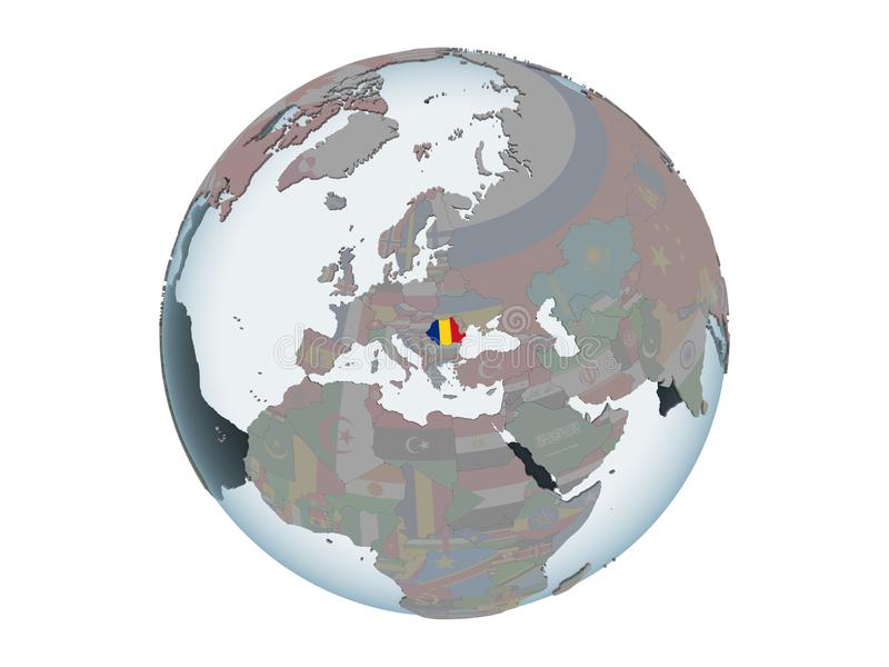Romania with flag on globe isolated. Romania on political globe with embedded flag. 3D illustration isolated on white background vector illustration