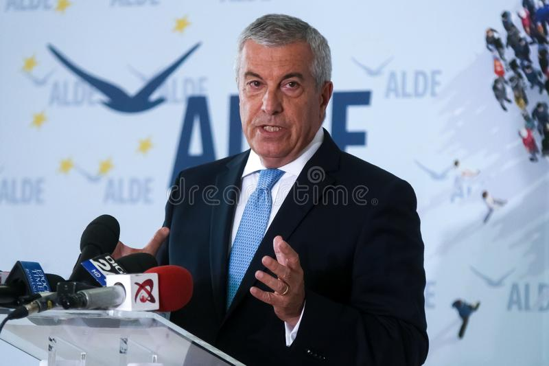 Romania politics - Calin Popescu Tariceanu - running for presidency. Bucharest, Romania - July 24, 2019: Calin Popescu Tariceanu, leader of Liberal Democrat royalty free stock photo
