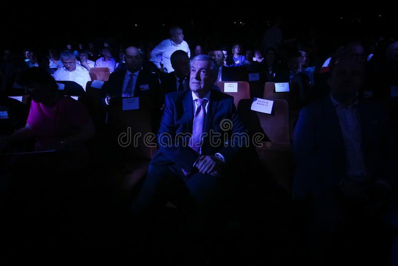 Romania politics - Social Democratic Party congress. Bucharest, Romania - June 29, 2019: Calin Popescu Tariceanu, leader of Liberal Democrat Alliance ALDE stock image