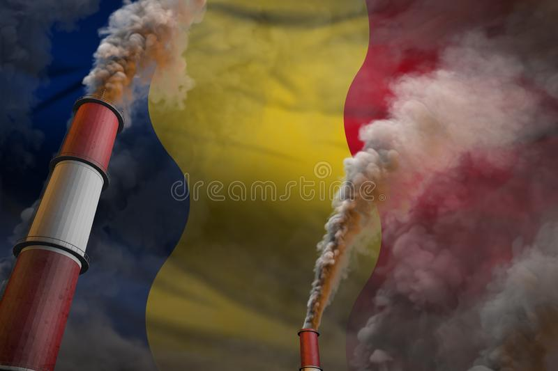 Romania pollution fight concept - two large industry chimneys with heavy smoke on flag background, industrial 3D illustration. Pollution fight in Romania concept royalty free stock photo