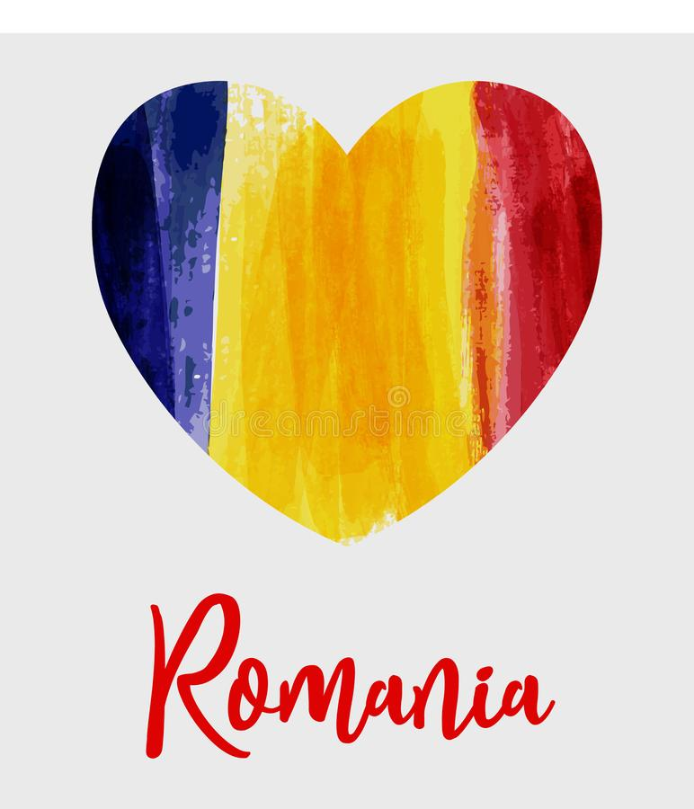 Grunge heart Romania flag background vector illustration