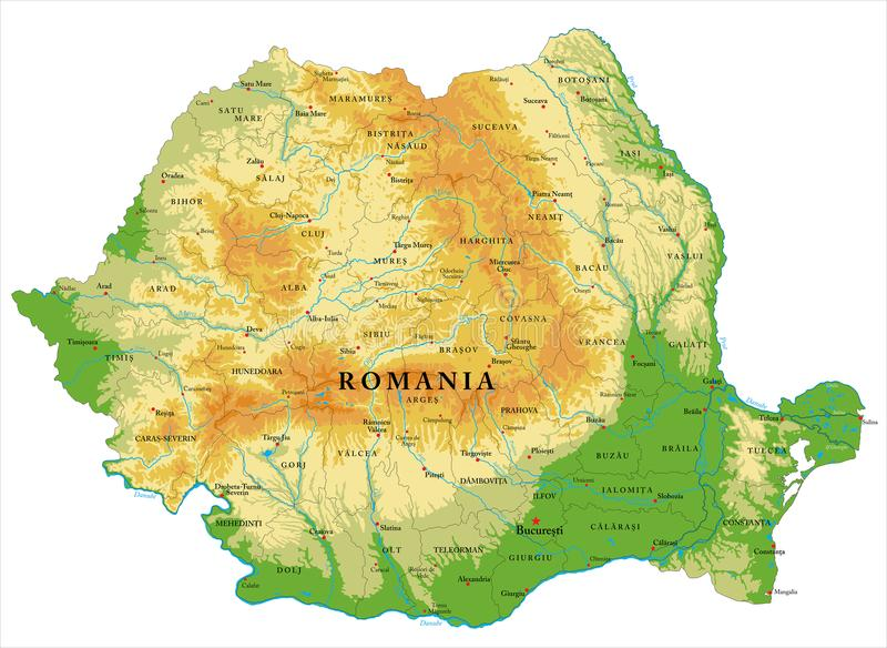 Romania relief map. Highly detailed physical map of Romania,in vector format,with all the relief forms,regions and big cities royalty free illustration