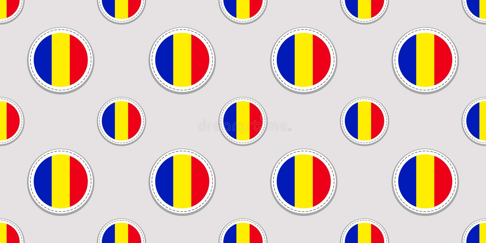 Romania round flag seamless pattern. Romanian background. Vector circle icons. Geometric symbols. Texture for sports royalty free illustration