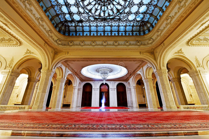 Romania's Palace of Parliament. BUCHAREST, ROMANIA - OCTOBER 22: Interior shot with the Palace of Parliament on October 22, 2015 in Bucharest. The People's royalty free stock image