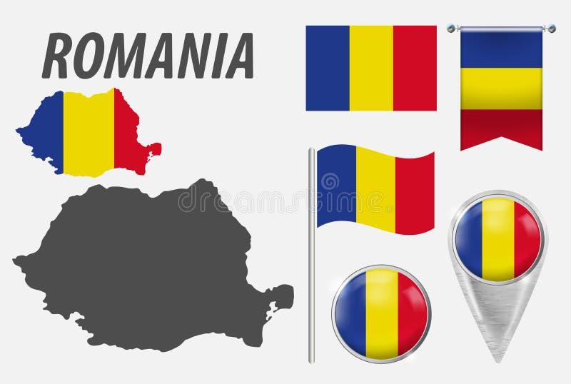 romania Samling av symboler i färgnationsflagga på olika objekt som isoleras på vit bakgrund Flagga pekare, knapp, vektor illustrationer