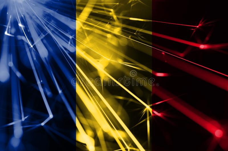 Romania shining fireworks sparkling flag. New Year 2019 and Christmas futuristic shiny party concept flag. stock illustration