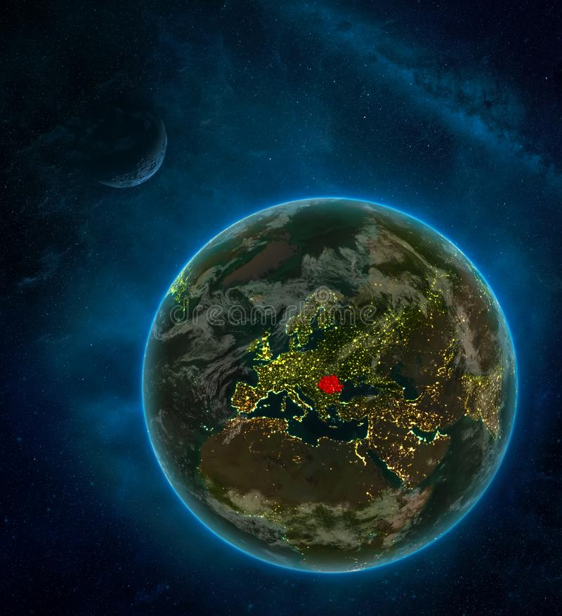 Romania from space on Earth at night surrounded by space with Moon and Milky Way. Detailed planet with city lights and clouds. 3D. Illustration. Elements of stock illustration