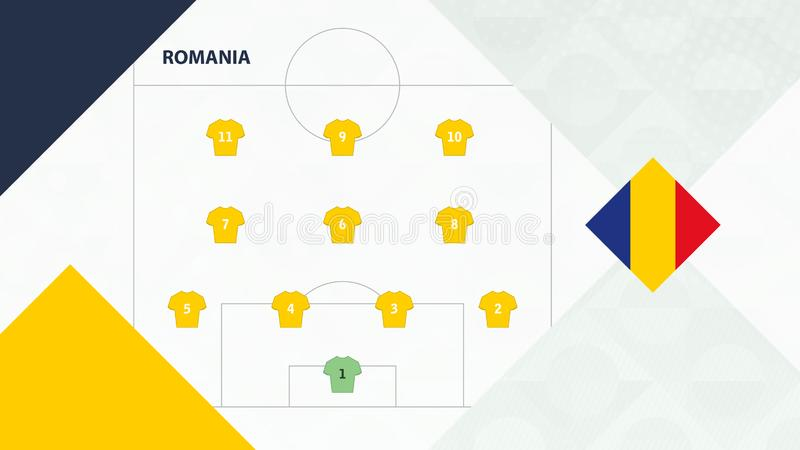 Romania team preferred system formation 4-3-3, Romania football team background for European soccer competition.  stock illustration