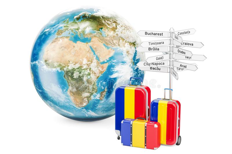 Romania travel concept. Suitcases with signpost and Earth Globe, 3D rendering. Romania travel concept. Suitcases with signpost and Earth Globe, 3D royalty free illustration