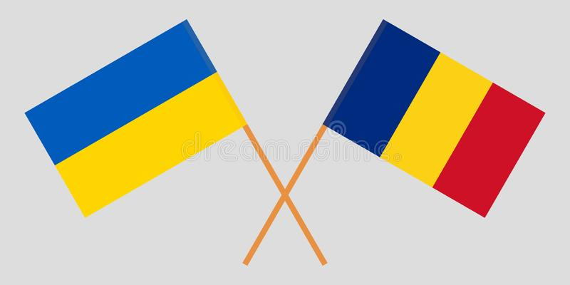 Romania and Ukraine. The Romanian and Ukrainian flags. Official proportion. Correct colors. Vector. Illustration vector illustration