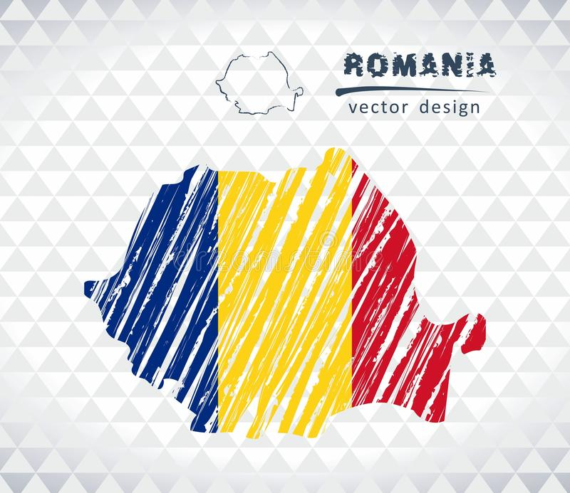 Romania vector map with flag inside isolated on a white background. Sketch chalk hand drawn illustration royalty free illustration