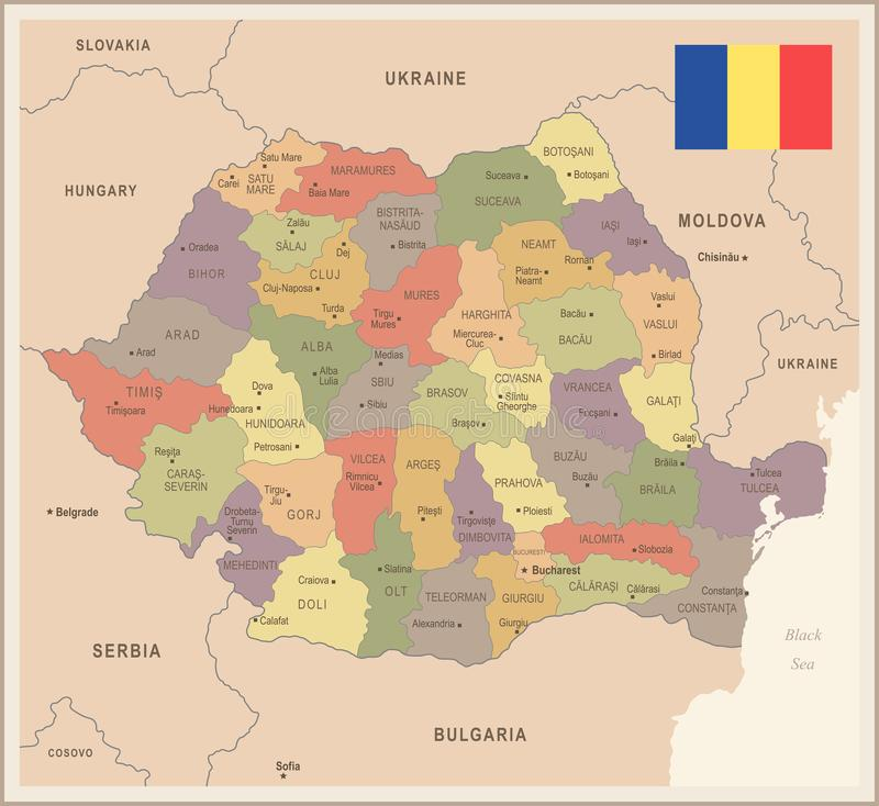 Romania Vintage Map And Flag Detailed Vector Illustration Stock