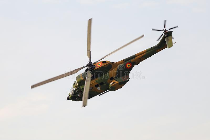Romanian army helicopter. A Romanian Army helicopter at an airshow stock image