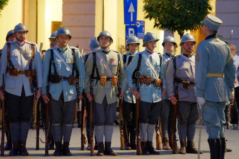 Romanian Army parade in Bucharest, Romania. Romanian military parade to commemorate 100 years from Romania's entry into World War I royalty free stock photo