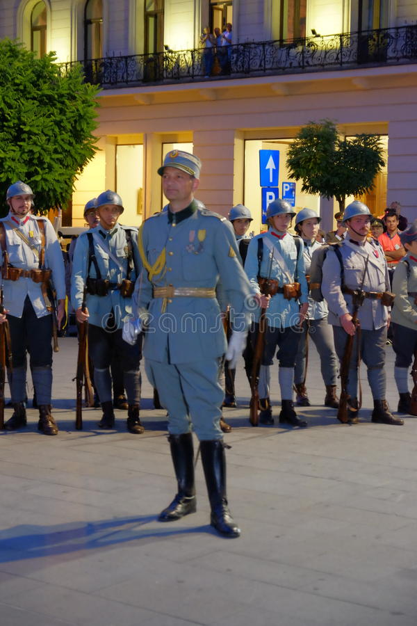 Romanian Army parade in Bucharest, Romania. Romanian military parade to commemorate 100 years from Romania's entry into World War I stock photos