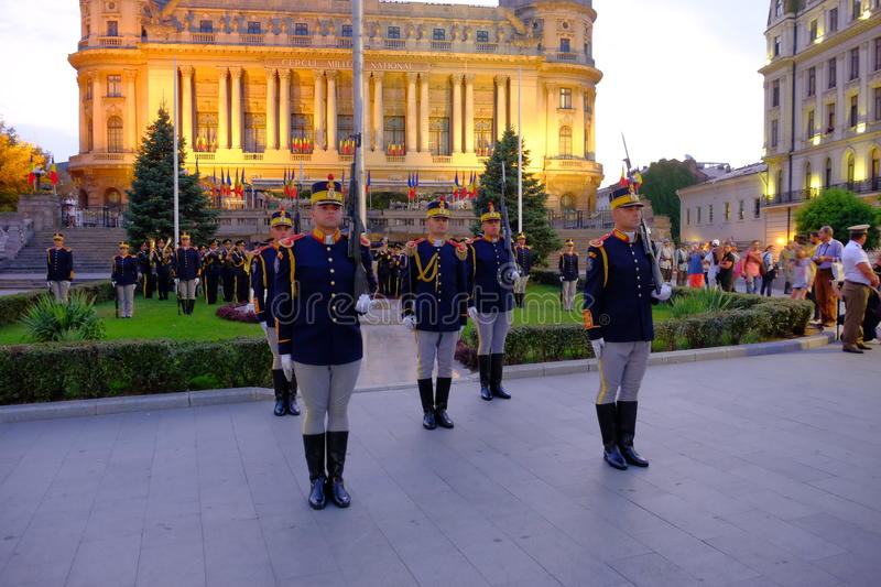 Romanian Army parade in Bucharest, Romania. Romanian military parade to commemorate 100 years from Romania's entry into World War I stock images