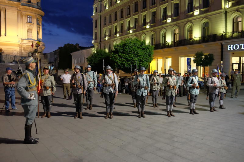 Romanian Army parade in Bucharest, Romania. Romanian military parade to commemorate 100 years from Romania's entry into World War I stock image