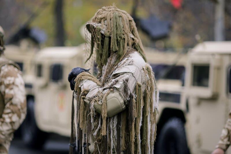 Romanian army sniper. Takes part at a military parade stock photos