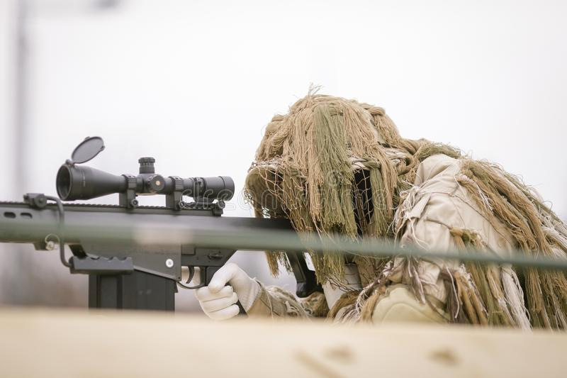 Romanian army sniper. Takes part at a military parade stock images