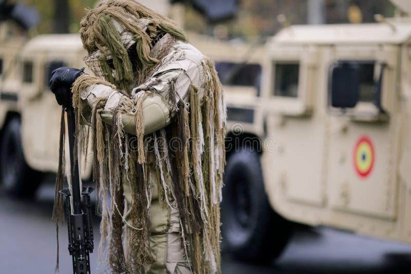 Romanian army sniper. Takes part at a military parade royalty free stock photo