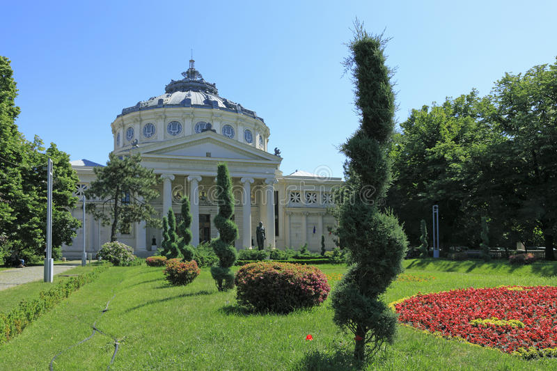The Romanian Athenaeum in Bucahrest royalty free stock photography