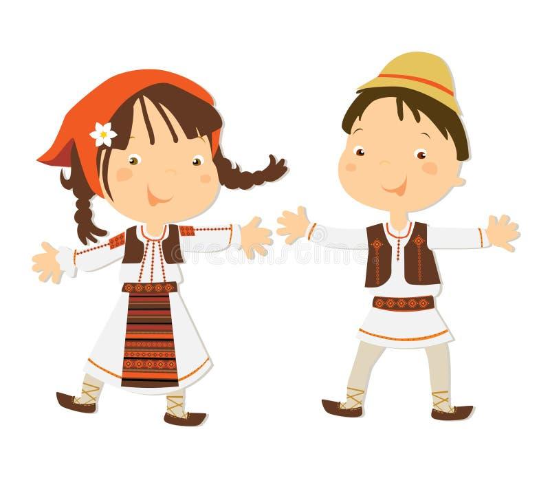 romanian barn royaltyfri illustrationer