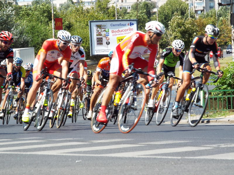 Romanian champions cycling tour. Picture with bikers in a urban zone from bucharest at romanian champions cycling tour royalty free stock photography