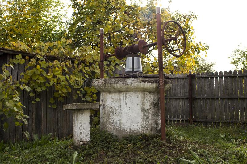 Romanian concrete water well royalty free stock photo