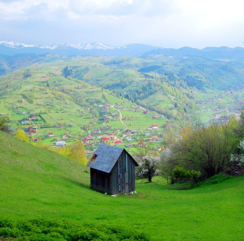 Romanian countryside chalet. Hillside chalet in countryside, Bran Moeciu de Jos, Transylvania, Romania royalty free stock images