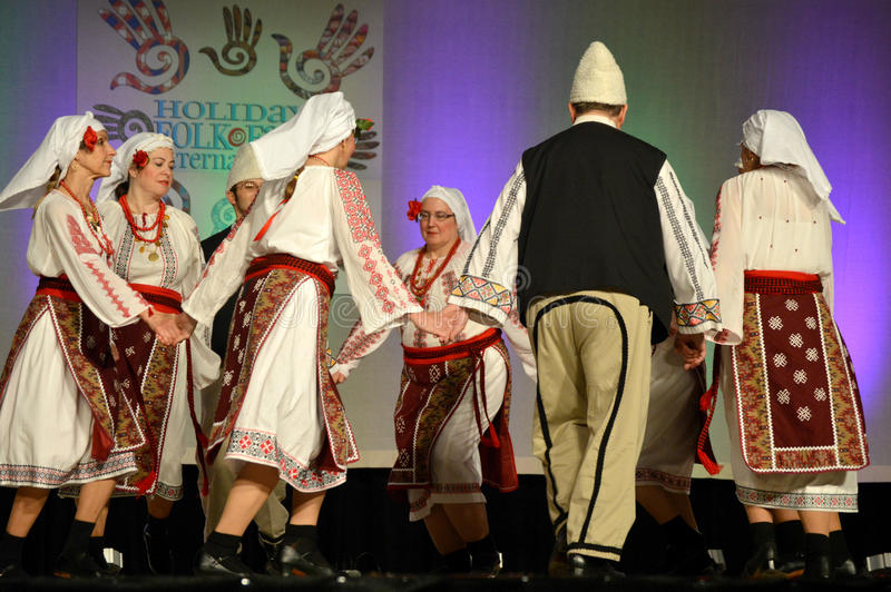 Romanian Dancers. At the Holiday Folk Fair International at State Fair Park in Milwaukee, Wisconsin stock image