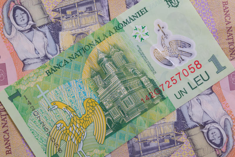 Romanian diferente Lei Banknotes fotografia de stock