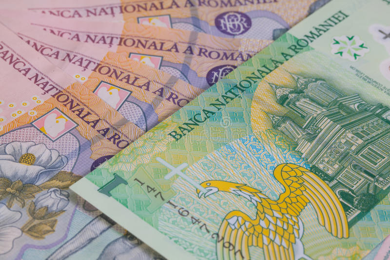 Romanian diferente Lei Banknotes imagens de stock