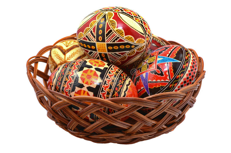 Easter eggs in Romania. Painted romanian easter eggs in a basket royalty free stock image