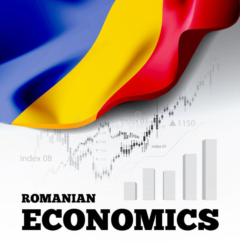 Romanian economics vector illustration with romania flag and business chart, bar chart stock numbers bull market. Uptrend line graph symbolizes the welfare vector illustration