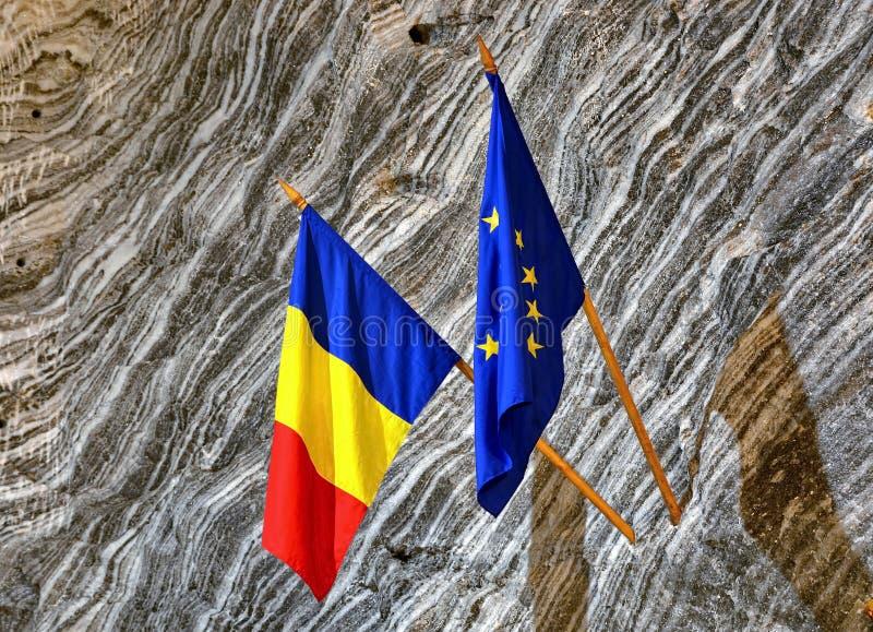 Romanian and EU Flag. Inside salt mine royalty free stock photography