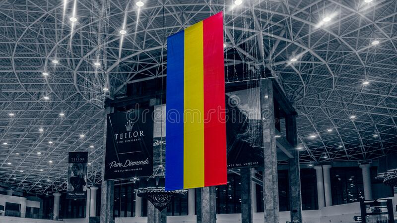 Romanian flag hanging royalty free stock photography