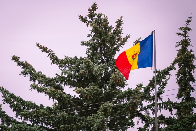 Romanian Flag on the mast. Romania flag of silk. Romanian flag on flagpole blowing in wind isolated against blue sky with copyspac. Romanian Flag on the mast stock image