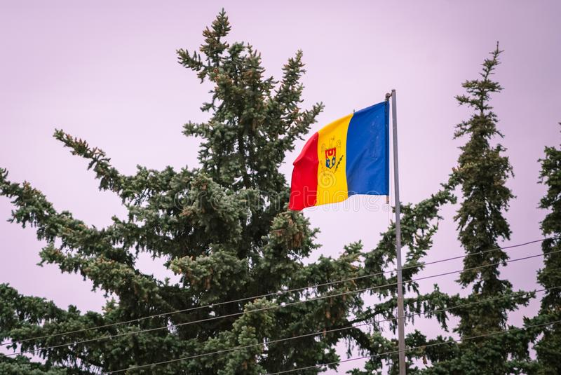 Romanian Flag on the mast. Romania flag of silk. Romanian flag on flagpole blowing in wind isolated against blue sky with copyspac. Romanian Flag on the mast stock images
