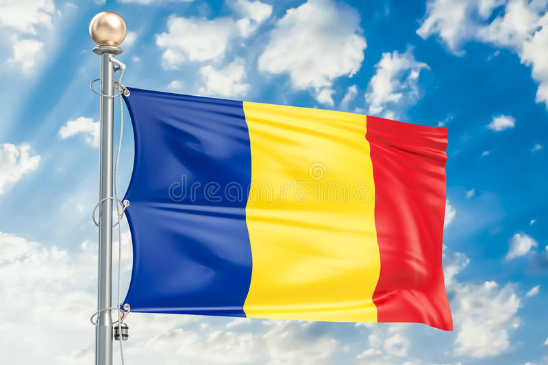Romanian flag waving in blue cloudy sky, 3D rendering vector illustration