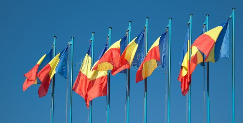 Romanian flags stock image